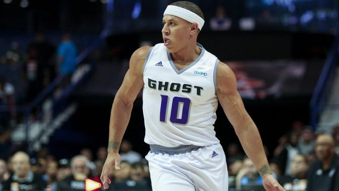Mandatory Credit: Photo by Gary E Duncan Sr/CSM/Shutterstock (10353747a)Saturday - Ghost Baller's Mike Bibby advances the ball during Big3 game between Tri-State vs the Ghost Ballers at the Allstate Arena in Rosemont, IL.