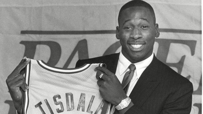 Mandatory Credit: Photo by Michael Conroy/AP/Shutterstock (6569475a)Tisdale Wayman Tisdale, the Indiana Pacers' number one draft choice, holds up his Pacer jersey after he signed his contract with the team in Indianapolis, .