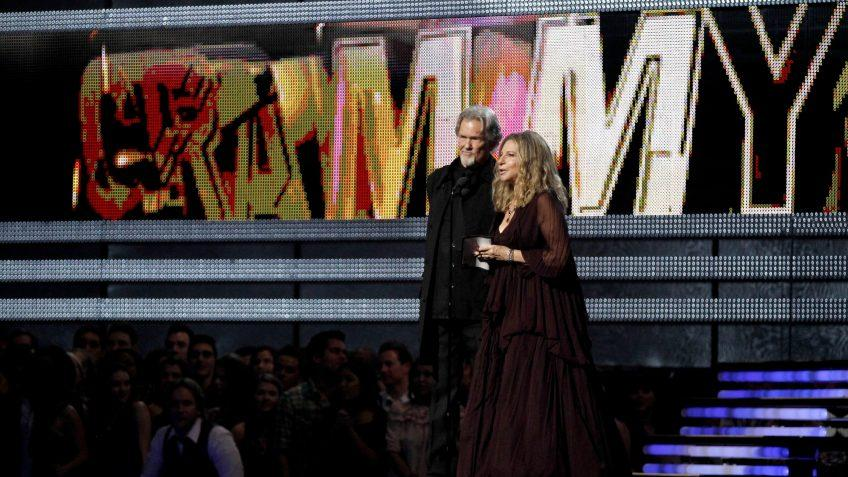 Mandatory Credit: Photo by Matt Sayles/AP/Shutterstock (5936026dv)Kris Kristofferson, Barbra Streisand Kris Kristofferson, left, and Barbra Streisand present the award for album of the year at the 53rd annual Grammy Awards, in Los AngelesGrammy Awards Show, Los Angeles, USA.