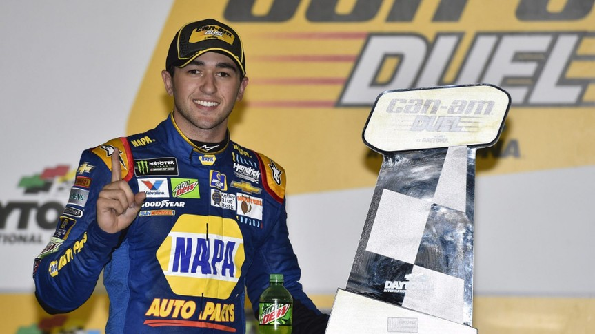 Mandatory Credit: Photo by Nigel Kinrade/NKP/Motorsport Images/Shutterstock (11028179as)2017 NASCAR Monster Energy Cup - Can-Am Duels Daytona International Speedway, Daytona Beach, FL USA Thursday 23 February 2017 Chase Elliott celebrates his win in Victory Lane World Copyright: Nigel Kinrade/LAT ImagesNASCAR Cup, Can-Am Duels - Daytona, Florida, USA, Daytona International Speedway, United States of America - 23 Feb 2017.