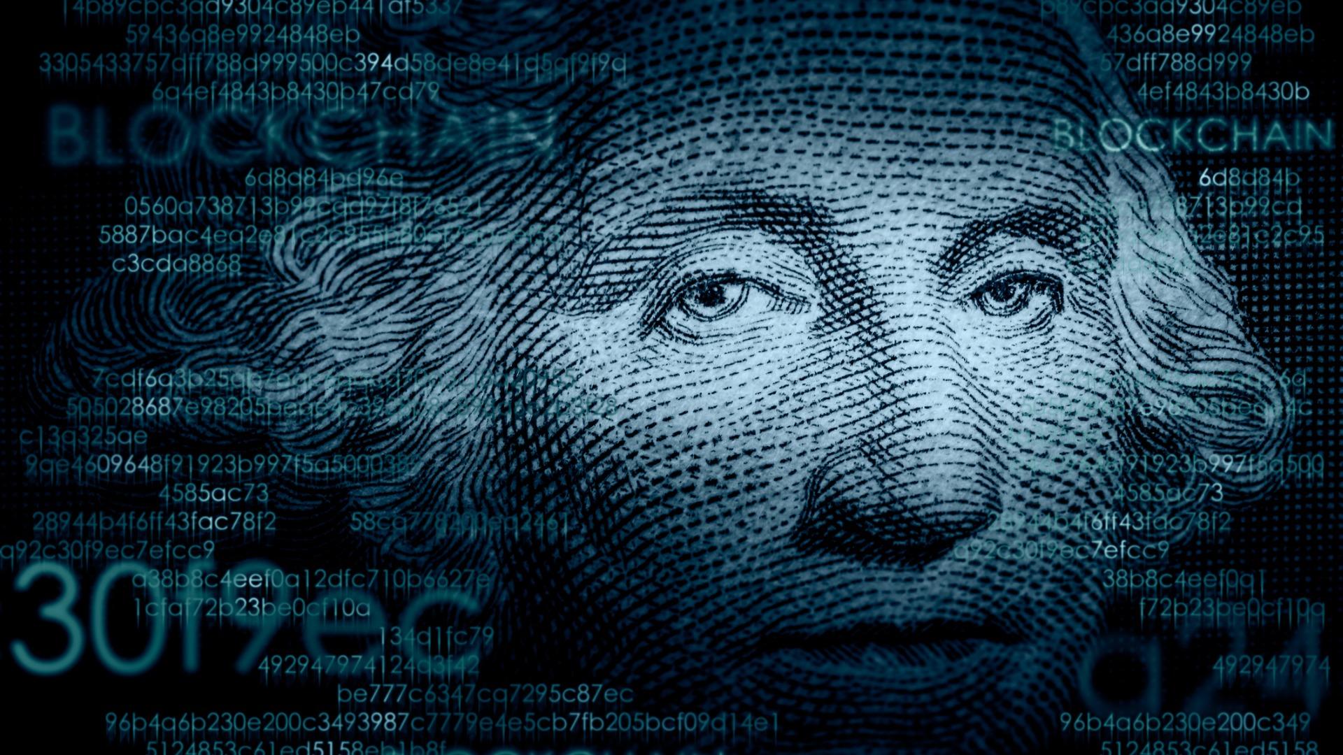 George Washington on dollar bill with blockchain code