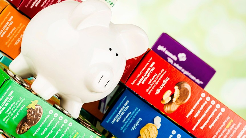 """Suffolk, Virginia, USA - March 10, 2013: A horizontal format studio shot of several boxes of different flavored Girl Scout Cookies, with a piggy bank and money sitting on the top to convey the concept of fundraising by selling the cookies."