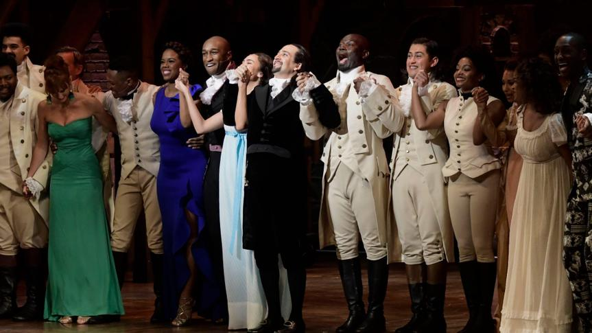 Mandatory Credit: Photo by Carlos Giusti/AP/Shutterstock (10054822h)Actors of the the award-winning Broadway musical, Hamilton, including its composer and creator, New York native of Puerto Rican descent, Lin-Manuel Miranda, center, receive a standing ovation at the ending of its premiere held at the Santurce Fine Arts Center, in San Juan, Puerto Rico, .