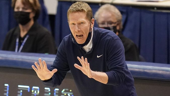 Mandatory Credit: Photo by Rick Bowmer/AP/Shutterstock (11751701k)Gonzaga head coach Mark Few shouts to his team in the second half of an NCAA college basketball game against BYU, in Provo, UtahGonzaga BYU Basketball, Provo, United States - 08 Feb 2021.