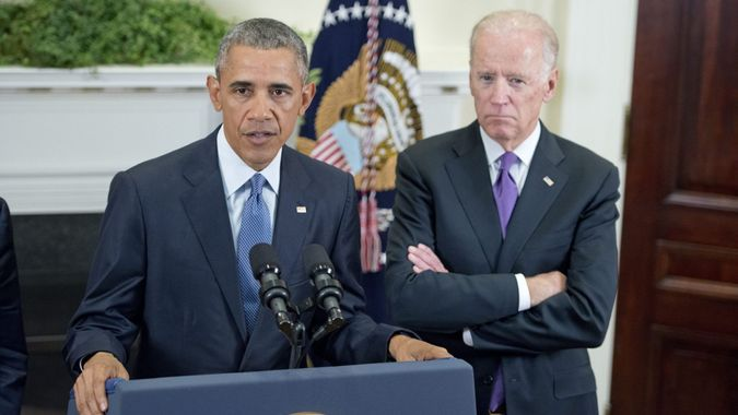 Mandatory Credit: Photo by Shutterstock (5254513p)Barack Obama and Joe BidenPresident Barack Obama gives a statement on Afghanistan, Washington DC, America - 15 Oct 2015President Barack Obama announces he will keep 5,500 US troops in Afghanistan when he leaves office in 2017 and explains his reasoning for that action in the Roosevelt Room of the White House in Washington, DC.