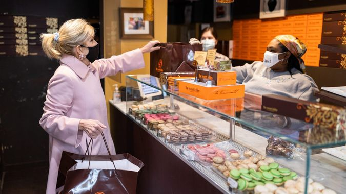 Mandatory Credit: Photo by White House/News Pictures/Shutterstock (11772223a)First Lady Jill Biden visits The Sweet Lobby bakery Friday, Feb.