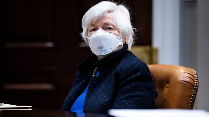 Mandatory Credit: Photo by Shutterstock (11787926e)United States Secretary of the Treasury Janet Yellen listens during a meeting with President Joe Biden in the Roosevelt Room of the White House, in Washington, DC.