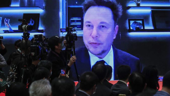 Mandatory Credit: Photo by WU HONG/EPA-EFE/Shutterstock (11822579l)A video shows Elon Musk, CEO of Tesla Inc.