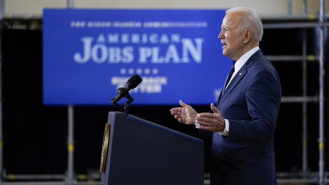 Mandatory Credit: Photo by Evan Vucci/AP/Shutterstock (11839941r)President Joe Biden delivers a speech on infrastructure spending at Carpenters Pittsburgh Training Center, in PittsburghBiden, Pittsburgh, United States - 31 Mar 2021.