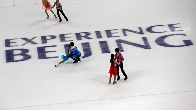 Mandatory Credit: Photo by Andy Wong/AP/Shutterstock (11841934e)Chinese figure skaters practice their routines at the Capital Indoor Stadium during a test event for the 2022 Beijing Winter Olympics in Beijing, .