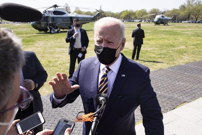 Mandatory Credit: Photo by Michael Reynolds/UPI/Shutterstock (11845554p)President Joe Biden delivers brief remarks on infrastructure to members of the news media after arriving on the Ellipse by Marine One en route to the White House on Monday, April 5, 2021.