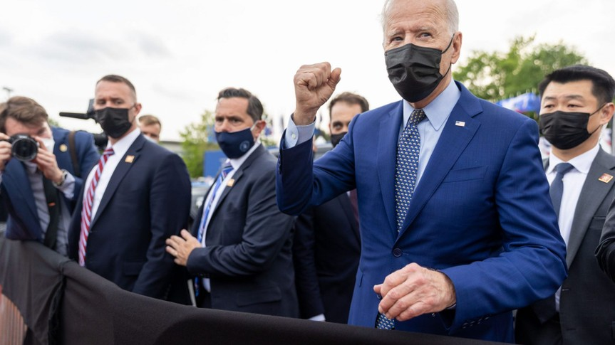Mandatory Credit: Photo by Nathan Posner/Shutterstock (11881905da)President Joe Biden shakes hands with supporters after a drive in rally for the President celebrating his 100 days in office, in Duluth, Georgia on April 29th, 2021.