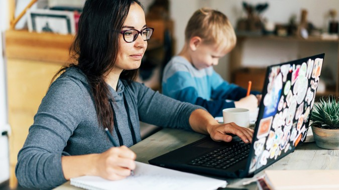 Concept of work from home and home family education.