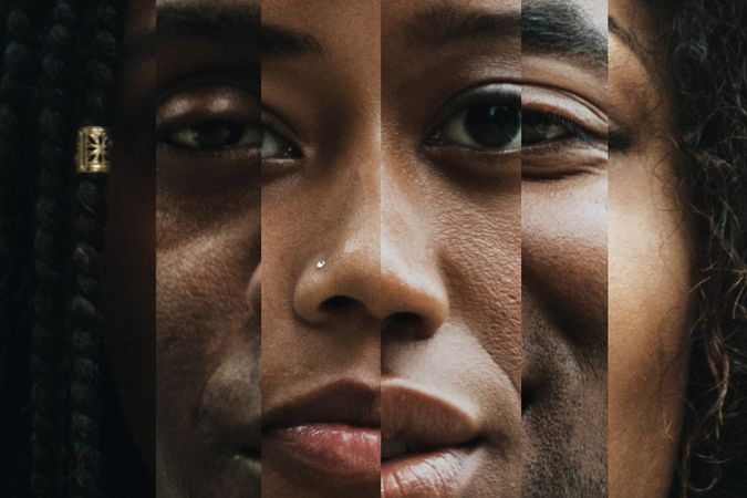 A montage blend of African American faces close up, both men and women with different shades and colors in skin tone.