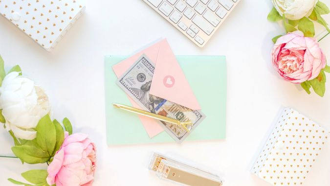 Feminine desk with money