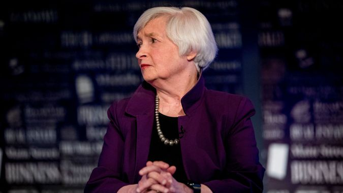 Mandatory Credit: Photo by Andrew Harnik/AP/Shutterstock (10361948ak)Former Fed Chair Janet Yellen appears for an interview with FOX Business Network guest anchor Jon Hilsenrath in the Fox Washington bureau, in Washington.