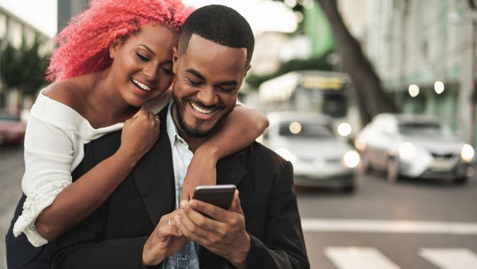 Street, City Street, Mobile Phone, Smart Phone, Smiling.
