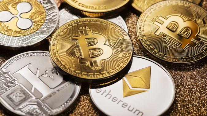 Ljubljana, Slovenia - may 14 Bitcoin and alt coins cryptocurrency close up shoot.