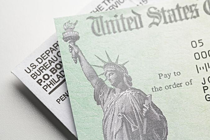 Stimulus Check: USA government check, payment.
