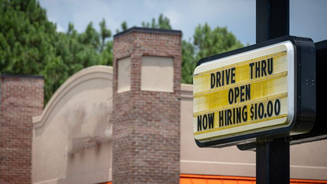 A fast-food restaurant advertises that is is hiring with a starting rate of $10.