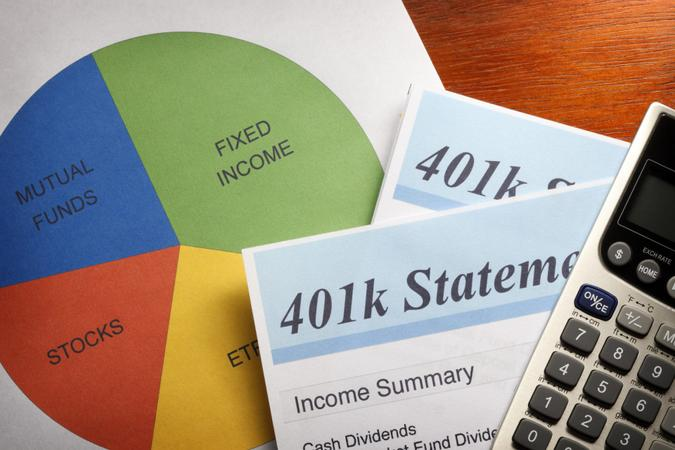 Close up of a 401(k) statement and pie chart.