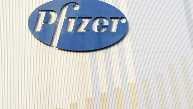 Karlsruhe, Germany - March 5, 2011:  Pfizer logo on a viagra store in Germany.