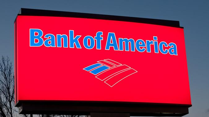 Manchester, New Hampshire, United States - April 14, 2011: This is a close up photo of a Bank of America sign at one of their banks.