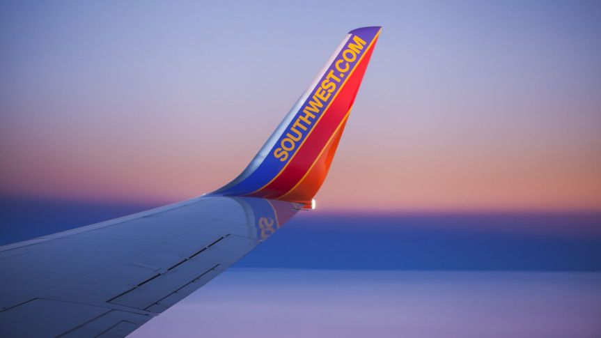 Orlando, Florida, USA - December 2, 2013: A curved winglet with the Southwest.
