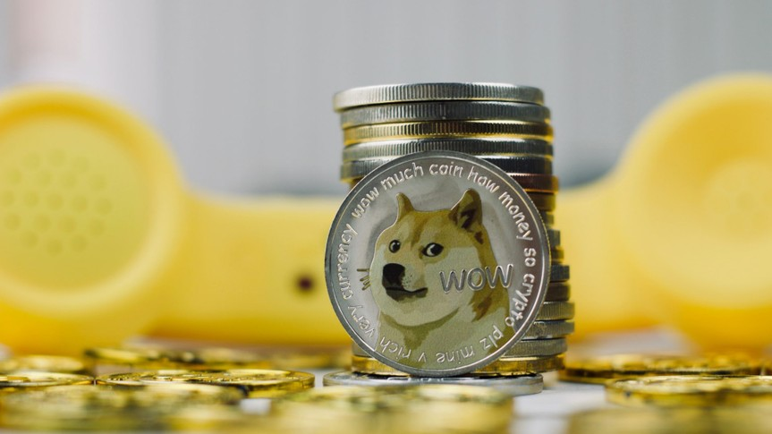 Digital currency physical metal dogecoin coin.