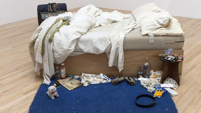 Mandatory Credit: Photo by Ray Tang/Shutterstock (4589102d)My Bed (1998) by Tracey EminTracey Emin and Francis Bacon artwork at Tate Britain, London, Britain - 30 Mar 2015Tracey Emin?s My Bed returns to Tate Britain for first time in 15 years.