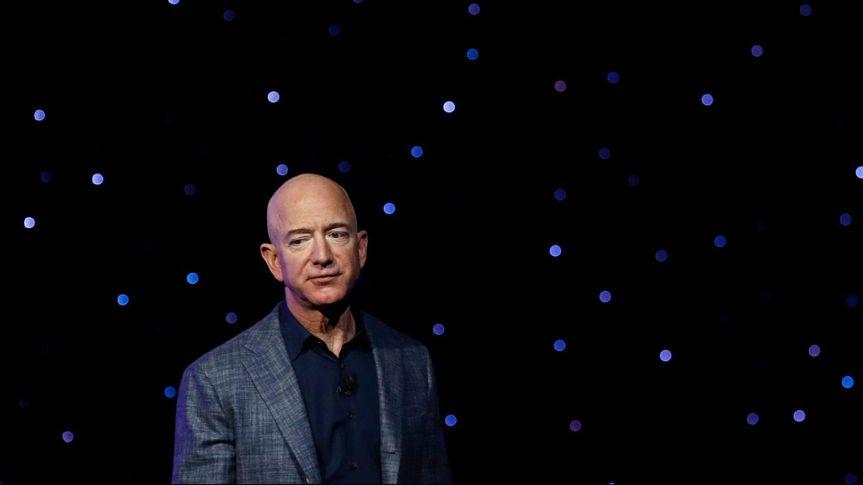 Mandatory Credit: Photo by Patrick Semansky/AP/Shutterstock (10538400b)Jeff Bezos speaks at an event to unveil Blue Origin's Blue Moon lunar lander in Washington.