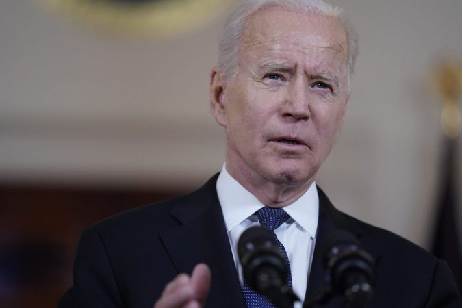 Mandatory Credit: Photo by Evan Vucci/AP/Shutterstock (11914585d)President Joe Biden speaks about a cease-fire between Israel and Hamas, in the Cross Hall of the White House, in WashingtonBiden, Washington, United States - 20 May 2021.