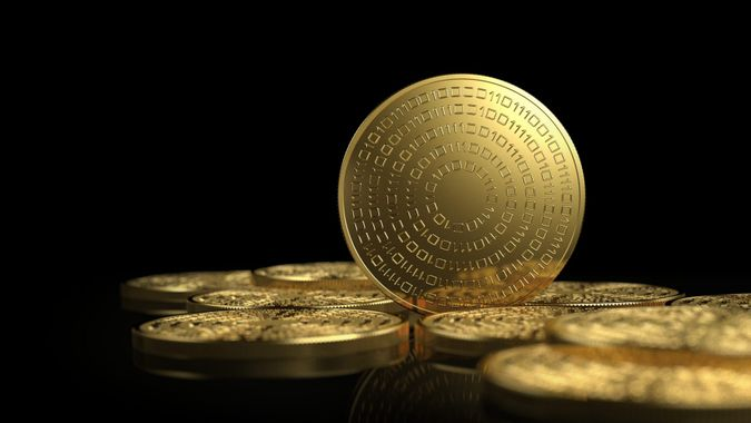 Gold coins isolated on white background.