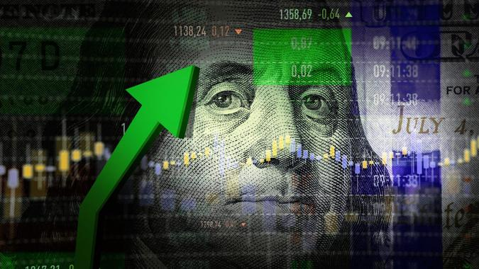 Dollar Sign, Growth, Stock Market and Exchange, Stock Market Data, Moving Up.