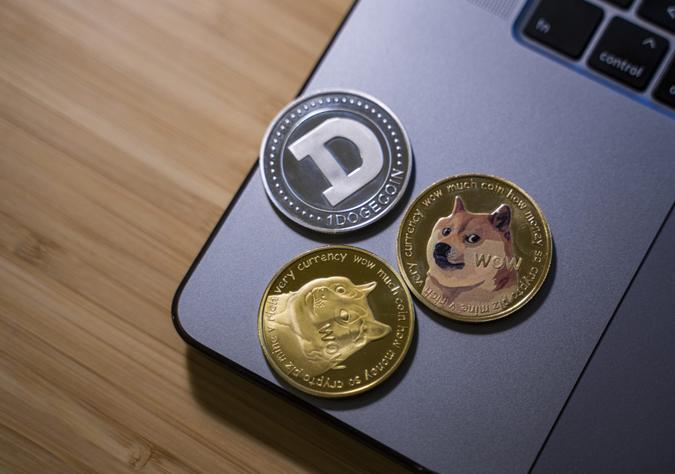 Antalya, Turkey - May 21, 2021: Close up shot of Dogecoin cryptocurrency.