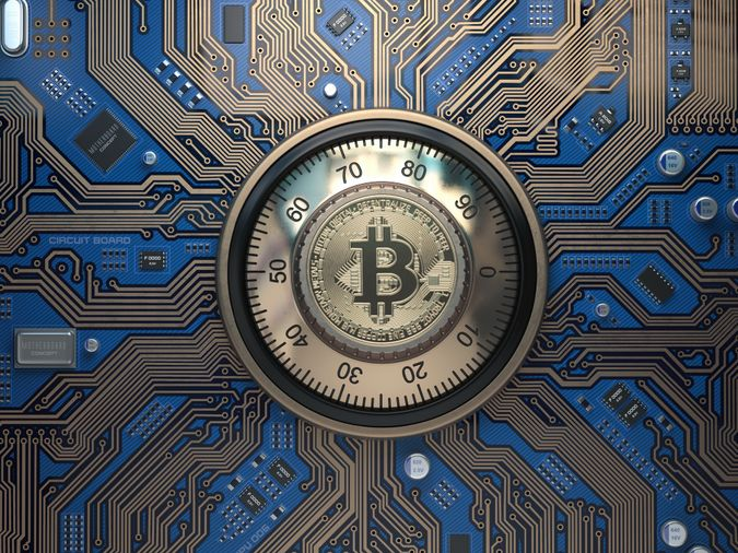 Bitcoin cryptocurrency security and mining concept.