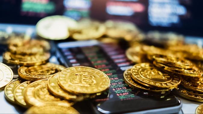 New virtual money concept, Gold Bitcoins ( btc )  is Digital crypto-currency use blockchain Technology for .