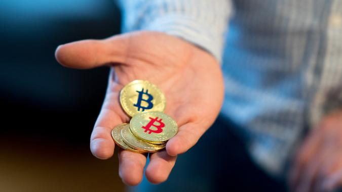 Golden Bitcoins (new virtual money) stock photo