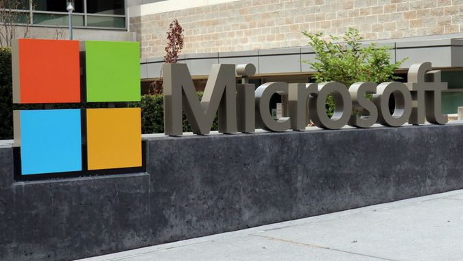 Mandatory Credit: Photo by Toby Scott/SOPA Images/Shutterstock (11879687b)The Microsoft logo seen at the corporate headquarters in Redmond, United States.