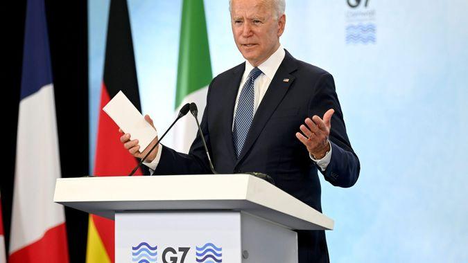 Mandatory Credit: Photo by Karwai Tang/Shutterstock (12071544b)United States of America President Joe Biden gives a press conference at Newquay airport, Cornwall during the G7 Summit47th G7 Summit, Cornwall, UK - 13 Jun 2021.