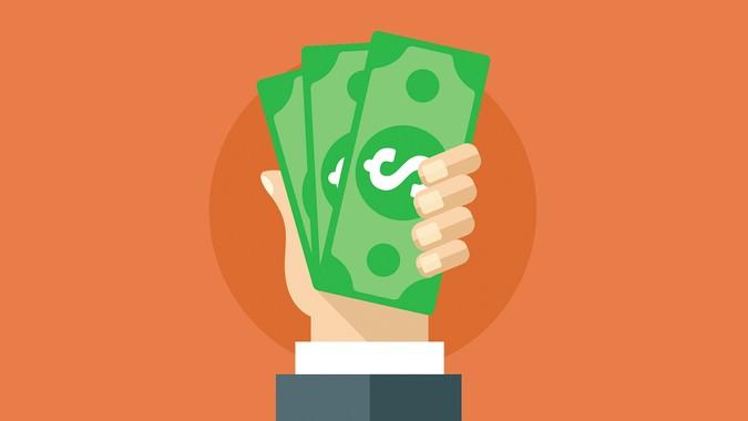 Hand holding cash flat illustration.