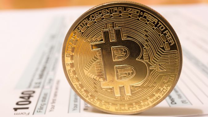 USA Bitcoin cryptocurrency tax day april 15 2019 stock photo