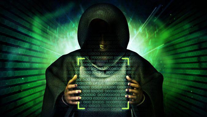 Hacker raise hands up to control computer coding , 3D rendering.