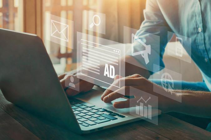 digital marketing concept, online advertisement, ad on website and social media.