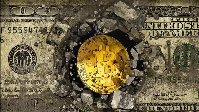 Concept of bitcoin destroying the concrete wall with dollar graffiti, 3d illustration.