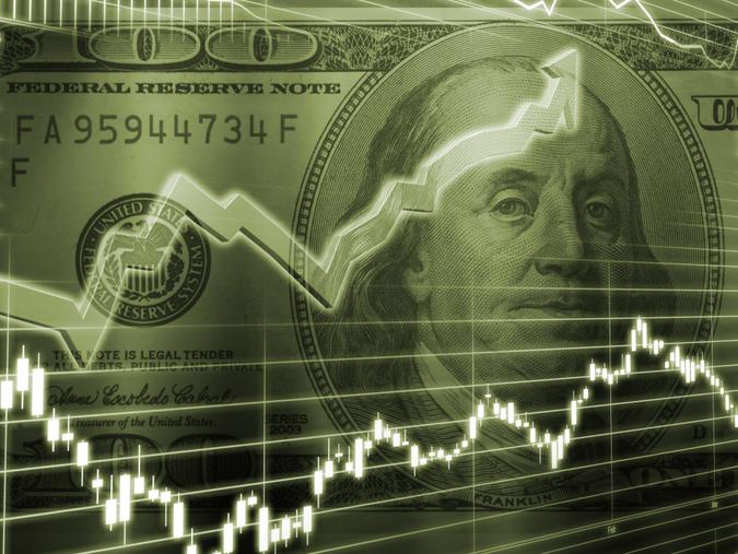 3D Rendered Abstract Background of one hundred dollar bill with stock market chart.
