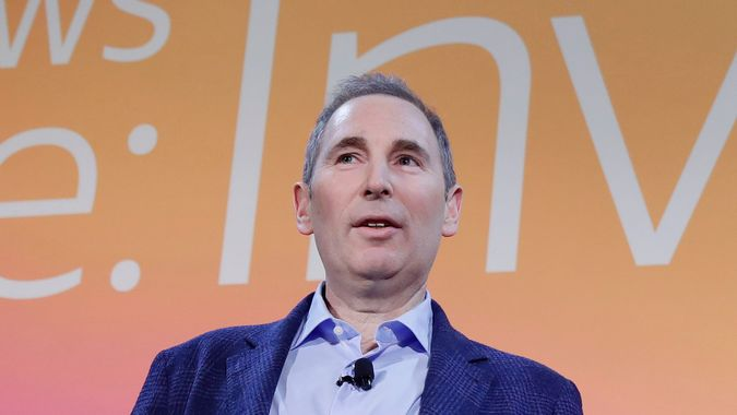 Mandatory Credit: Photo by Isaac Brekken/AP/Shutterstock (10492946e)AWS CEO Andy Jassy, discusses a new initiative with the NFL that will transform player health and safety using cloud computing during AWS re:Invent 2019 on in Las VegasNFL AWS Announcement, Las Vegas, USA - 05 Dec 2019.