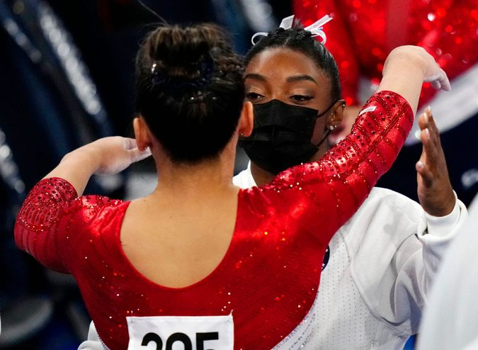Mandatory Credit: Photo by Dave Shopland/Shutterstock (12232742bh)Simone Biles embraces teammate Sunisa Lee after withdrawing from the Artistic Gymnastic, Women's Team FinalArtistic Gymnastics, Ariake Gymnastics Centre, Tokyo Olympic Games 2020, Japan - 27 Jul 2021.
