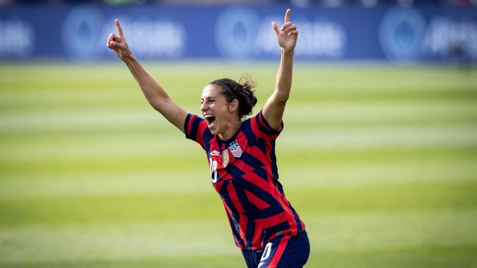 Mandatory Credit: Photo by IRA BLACK/EPA-EFE/Shutterstock (12197488a)Carli Lloyd (C) of the USA celebrates her goal in the first half of the friendly match between the USA and Mexico at Rentschler Field, in East Hartford, Connecticut, USA, 05 July 2021.