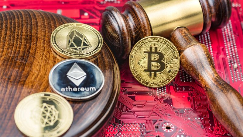 Concept law judge image for cryptocurrency stock photo